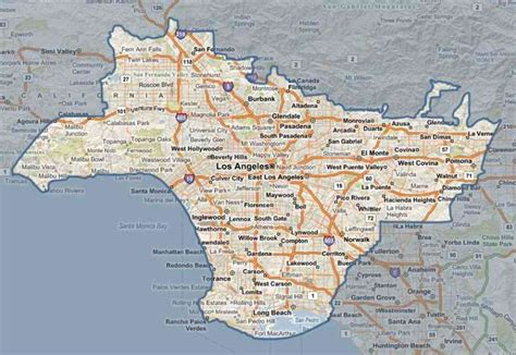 map of los angeles county image gallery los angeles county map