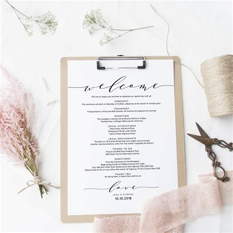 Welcome Itinerary Wedding Guest Welcome Letter Template Wedding Welcome Note Template