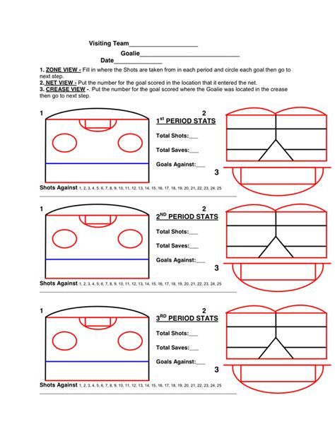 Hockey Bench Card Template by Goalie Goal Tracking In Word And Pdf Formats