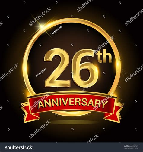 26th golden anniversary logo ring red stock vector