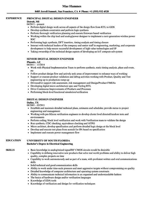 digital design engineer resume sles velvet jobs