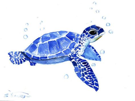 watercolor tattoo turtle sea turtle original watercolor painting 9 x 12 in sea