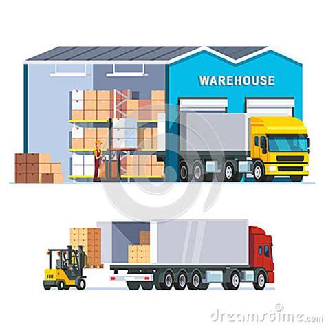 logistics warehouse with loading truck cartoon vector