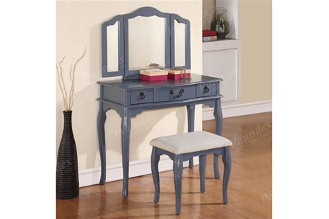 vanity with stool set 3 drawers in grey chair mirror