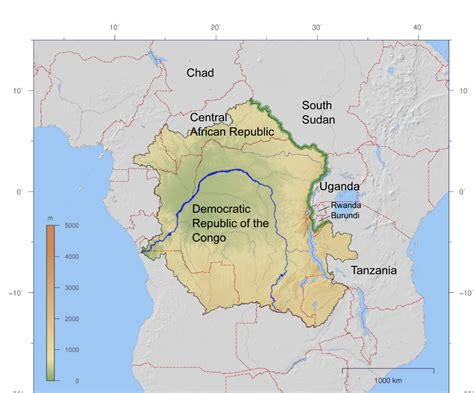 congo river map congo nile divide