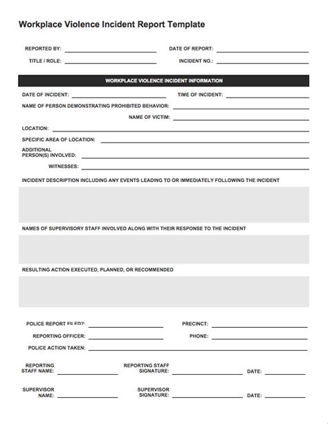 Technical Support Incident Report Template