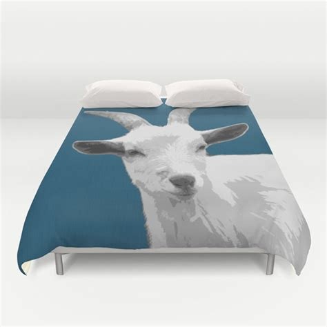 goat bedding goat blue duvet cover animal bedding kids decor modern