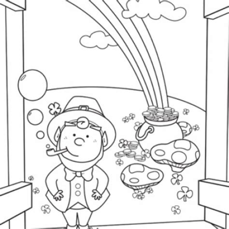 rainbow coloring page with leprechaun rainbow and pot of gold coloring page coloring home