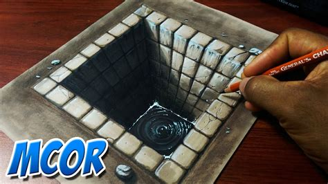 ilusiones opticas faciles de hacer a mano dibujando un hoyo de ladrillo 3d ilusion optica youtube