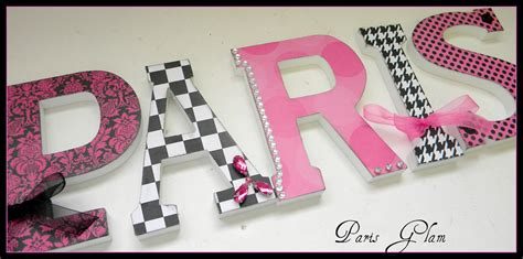 girls room wood wall letters paris parisian glam theme
