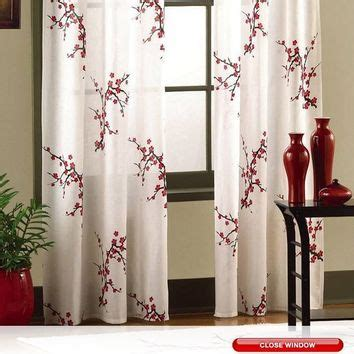 red bedroom curtains bedroom window curtains benefits asian cherry blossom red floral window from bonanza