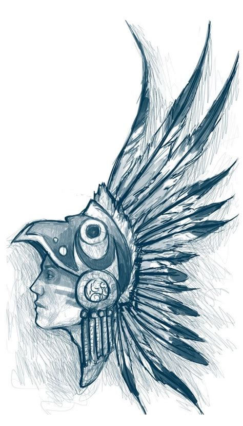 aztec warrior drawings drawing pencil