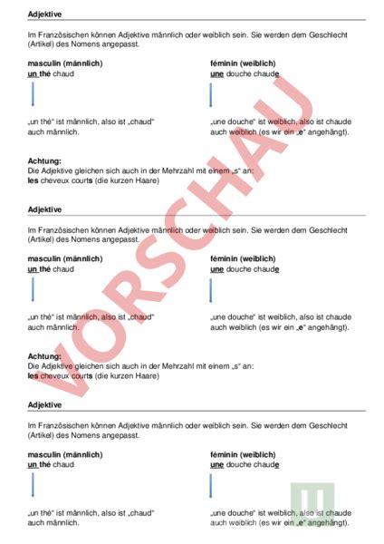 Musterbrief Angebot Französisch Www Unterrichtsmaterial Ch Franz 195 182 Sisch Grammatik Adjektive M W Arbeitsbl 195 164 Tter