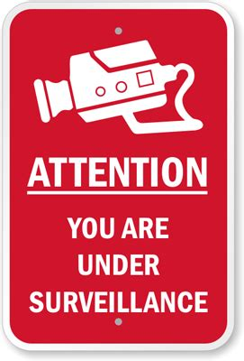 attention sign, video surveillance sign and cctv sign
