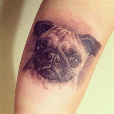 black and grey arm pug tattoos black realistic