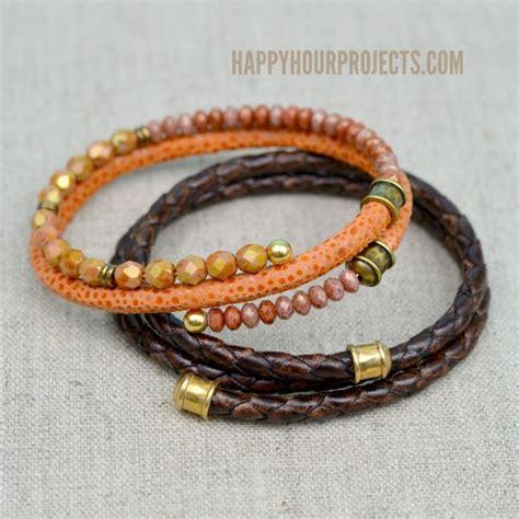leather beaded bracelet diy diy leather memory wire bracelets at www happyhourprojects