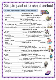 esl worksheets for beginners: simple past or present perfect