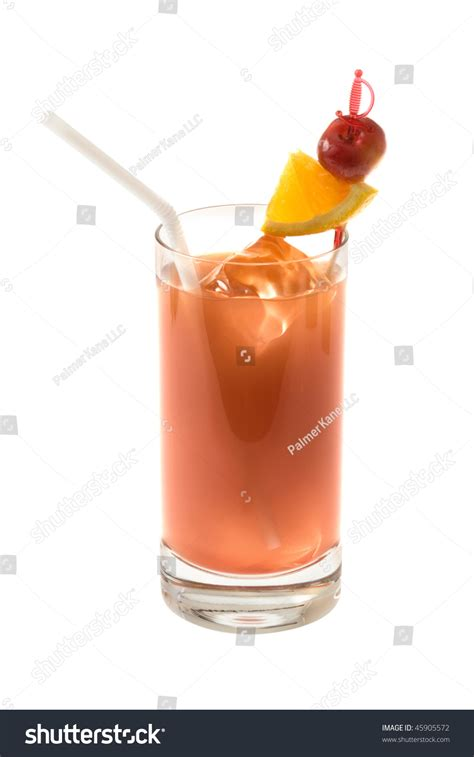 drink pic bay bay mixed drink with cherry and orange garnish on white background stock photo 45905572