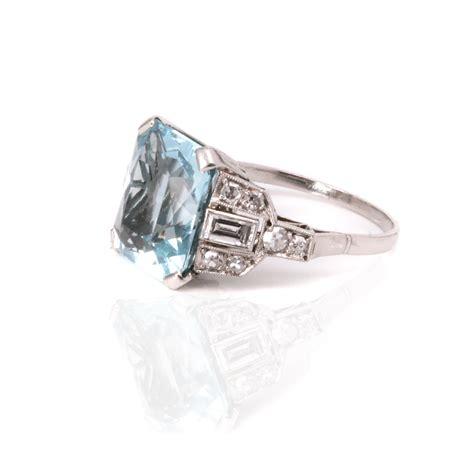 aquamarine deco ring deco aquamarine and ring made in platinum