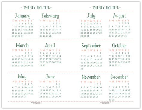 printable calendar half page 2018 2018 dated yearly calendar printables are here
