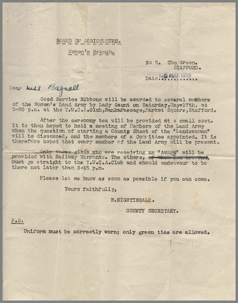 Invitation Letter With Ribbon 97 Years Ago Today Presentation Of Service Ribbons In Stafford 1919