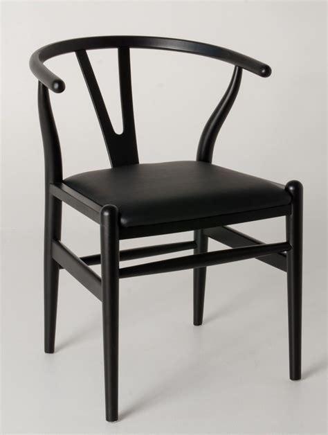 replica hans wegner ch wishbone chair black frame  pu seat beech timber dining