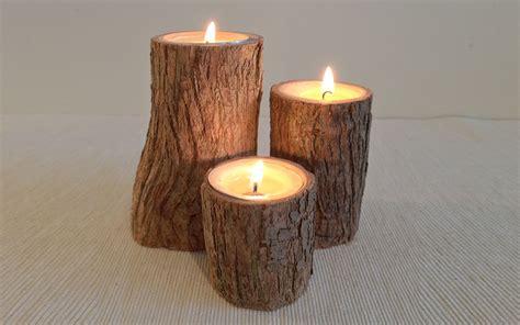 Pillar Tealight Candle Holders Soft Wood Pillar Rustic Bark Tealight Candle Holder 3
