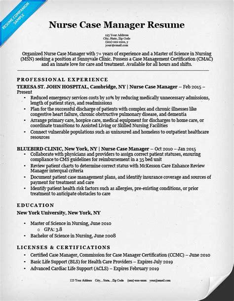 nurse case manager resume sle resume companion