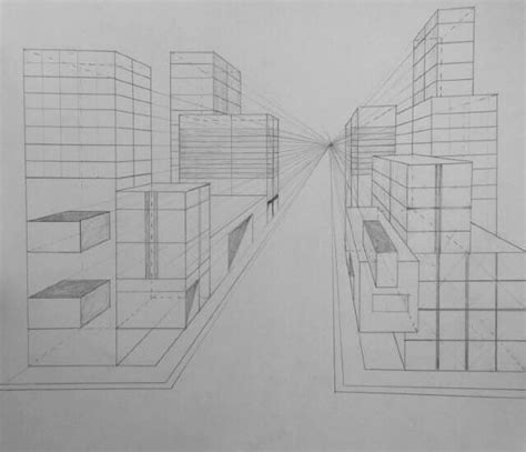 One Point Perspective City Drawing