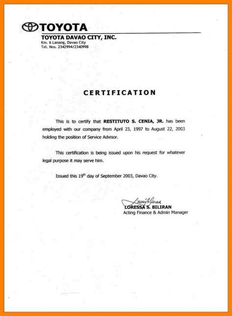 certification of employment letter exle 7 certificate of employment format homed