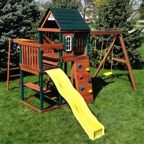 newcastle swing set swing n slide chesapeake wood complete play set home
