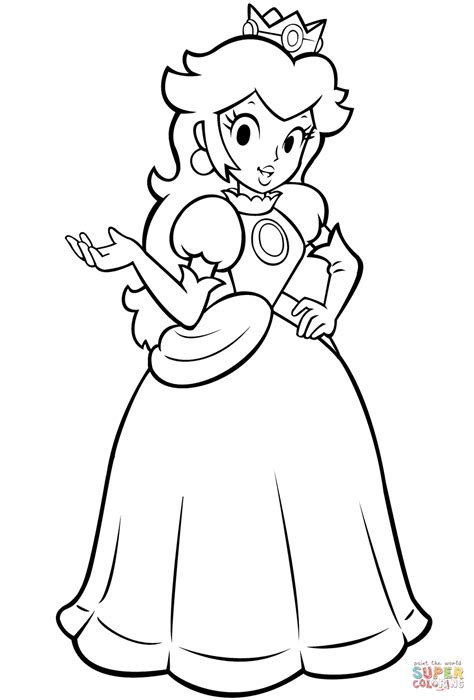 Mario Bros Princess Coloring Page Free Printable