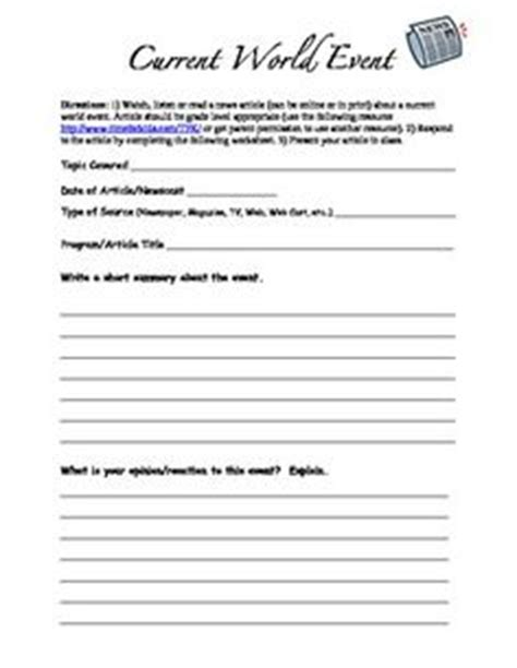 Tips Current Events by Free Current Events Report Worksheet For Classroom