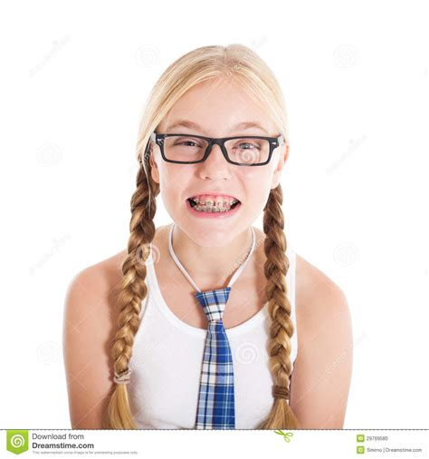 school girls braces pigtails teenage girl wearing a school uniform and glasses smiling