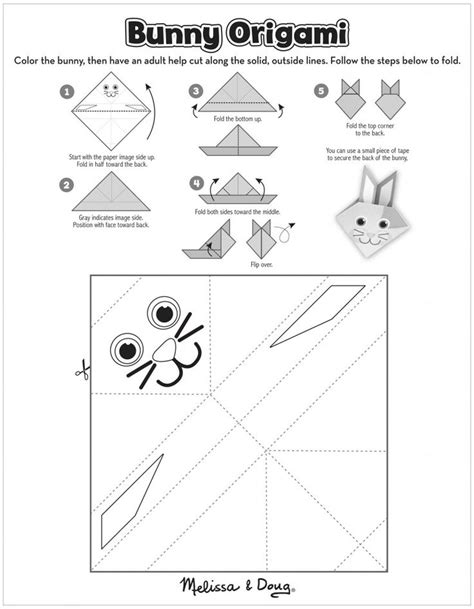 Origami Worksheet - summer printable origami bunny page for ways