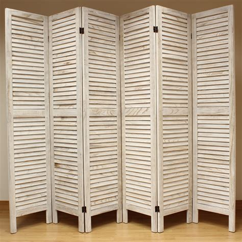 Cream 6 Panel Wooden Slat Room Divider Home Privacy Screen Dividers For Room
