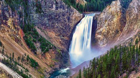 4k wallpaper waterfall yellowstone river waterfall 4k desktop wallpaper