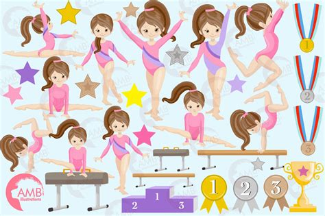 gymnastics clipart gymnast clipart mini bundle amb 2136 by