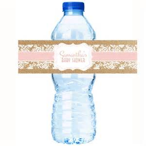 personalized water bottle labels rustic baby shower