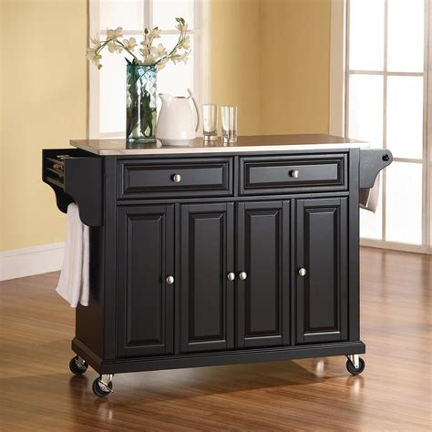 shop kitchen islands shop crosley furniture black craftsman kitchen island at lowes