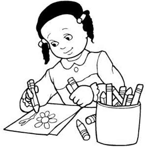 Girl Drawing Flower Coloring Page Coloring Pages To Draw