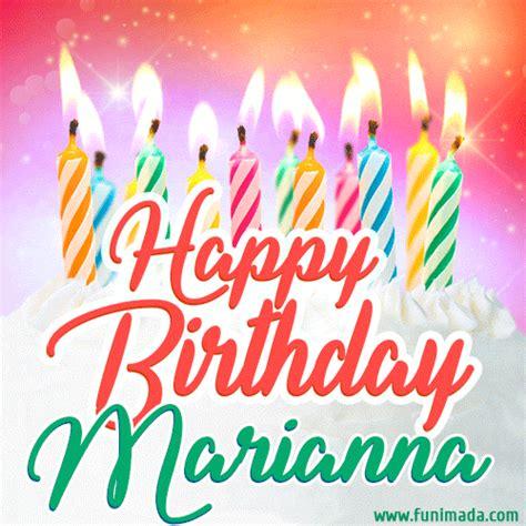 happy birthday gif  marianna  birthday cake  lit candles   funimadacom