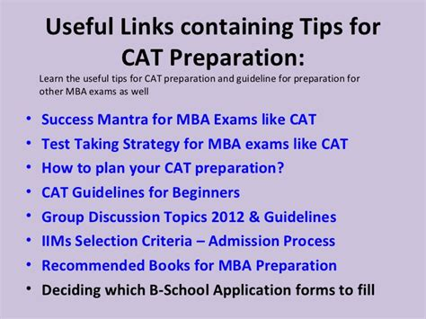 Mba Exams List by Cat Mba Preparation Tips Useful Links