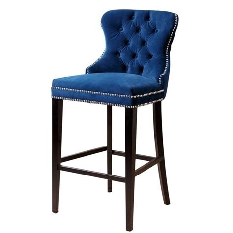 Bar Stools Navy Blue by Abbyson Blaise 30 Quot Upholstered Bar Stool In Navy Blue Br