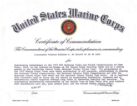 Certificate Of Commendation Usmc Template january 4 1971 certificate of commendation