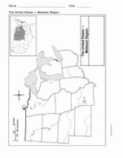 blank us map midwest states map of midwest united states geography printable 1st