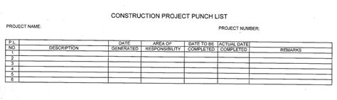 7 Free Sle Construction Punch List Templates Printable Sles Construction Project Punch List Template
