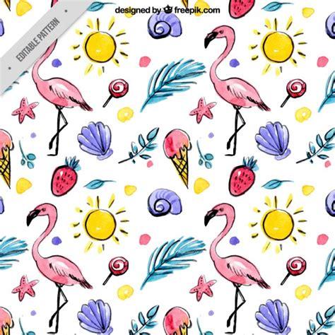 watercolor flamingos pattern vector free download hand drawn watercolor summer elements and flamingos