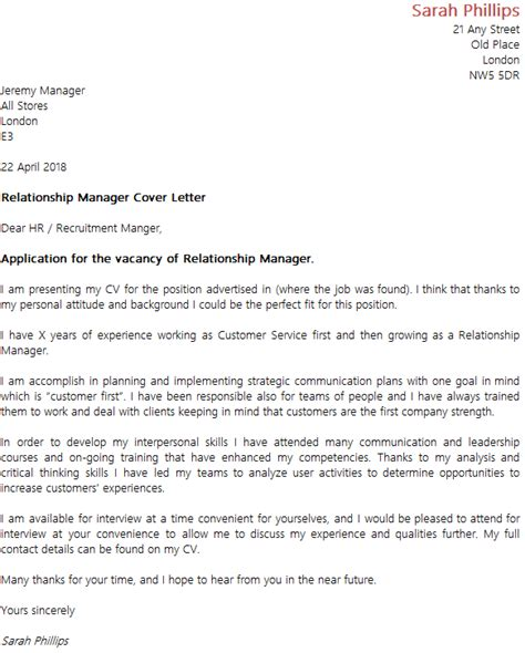 relationship manager cover letter icoverorguk