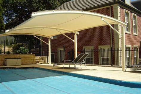 swimming pool awnings pool shade ideas cantilevered landscaping outdoor
